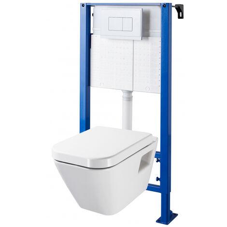 Pack WC suspendu bati universel avec cuvette design rectangulaire DIAG