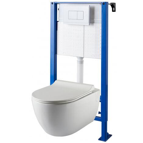 Pack WC suspendu Bâti universel avec cuvette sans bride Ceres