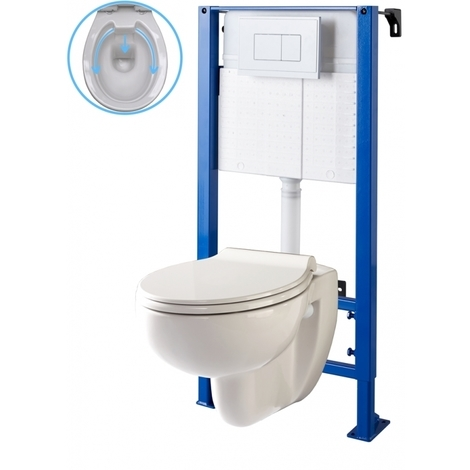 Pack wc suspendu bâti wc autoportant NF et cuvette wc rimless