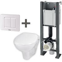 Pack wc suspendu Compact + cuvette + plaque de commande + abattant
