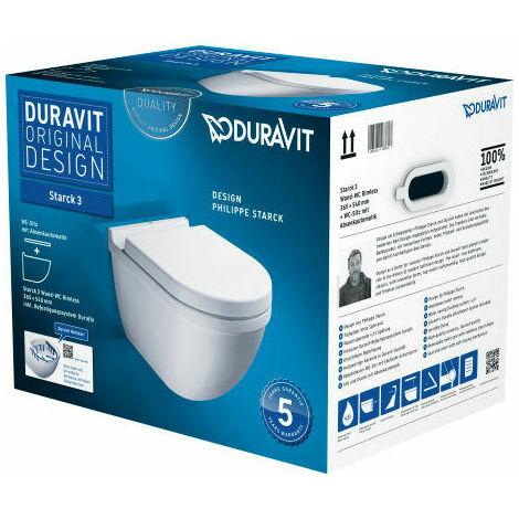 """main image of """"Duravit Starck 3 SET WC à suspension murale sans rebord (avec chasse d'eau) avec siège WC avec mécanisme de fermeture en douceur, blanc, Coloris: Blanc avec Wondergliss - 45270900A11"""""""