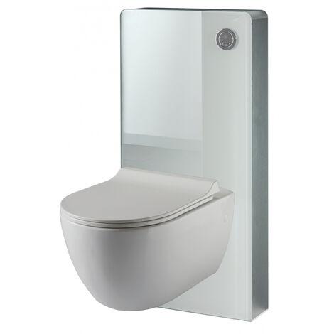 Pack WC suspendu mural en verre blanc et cuvette carénée sans bride CERES