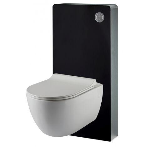 Pack WC suspendu mural en verre noir et cuvette carénée sans bride CERES