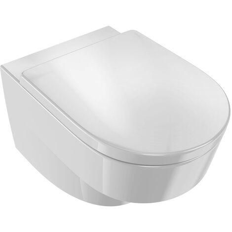 Pack WC suspendu ODEON Rive Gauche sans bride abattant standard - Blanc