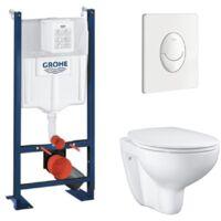 Pack wc suspendu sans bride Grohe Bau Ceramic et plaque de commande Grohe Skate Air