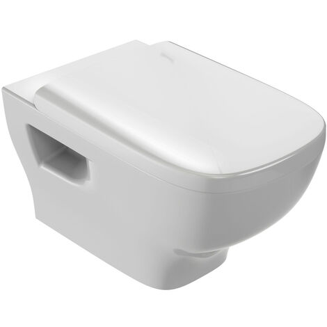 Pack WC suspendu STRUKTURA sans bride abattant frein chute - Blanc