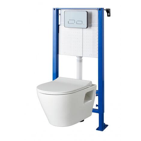 Pack WC suspendu universel avec plaque sensitive et cuvette sans bride Samara