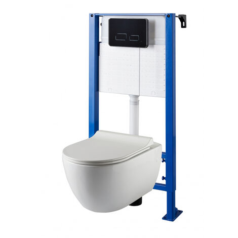 Pack WC suspendu universel avec plaque sensitive noire et cuvette sans bride Ceres
