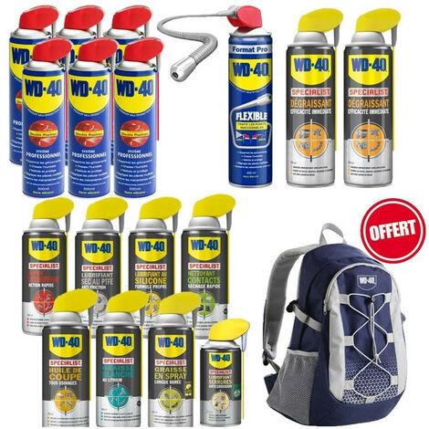 Pack WD40 complet: dégrippant, lubrifiant sec et silicone, nettoyant, graisse lithium et longue durée, huile de coupe... OFFERT sac à dos