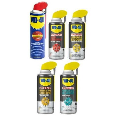 Pack WD40: dégrippant, lubrifiant silicone, graisse lithium, huile de coupe