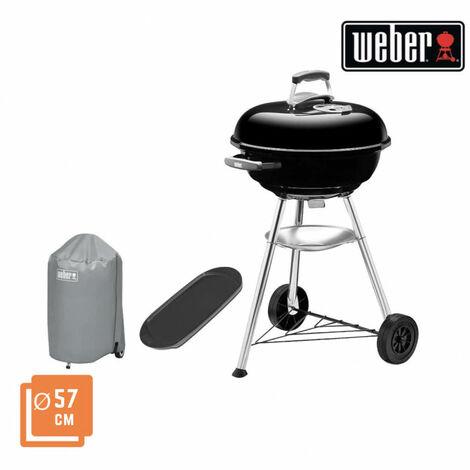 Pack WEBER Barbecue à charbon Original Kettle E-5710 57cm Noir - une housse de protection imperméable - une plancha 40x22cm