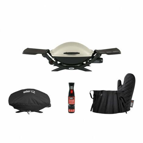 Pack WEBER Barbecue à gaz Q2000 Titanium - housse de protection imperméable - spray nettoyant 300ml - un gant - un tablier