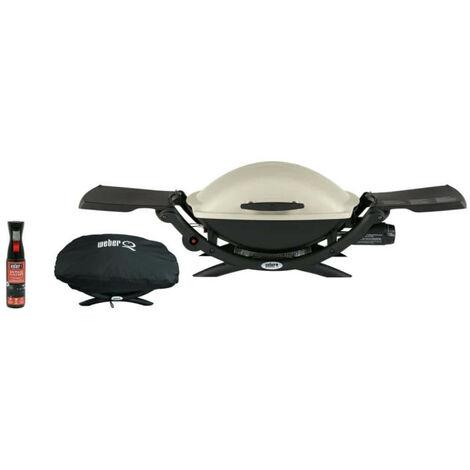 Pack WEBER Barbecue à gaz Q2000 Titanium - une housse de protection imperméable - un spray nettoyant 300ml