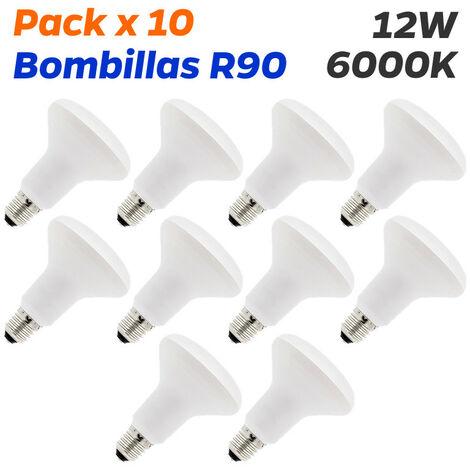 Pack x 10 bombillas led r90 e27 12w 6000k blanco frio