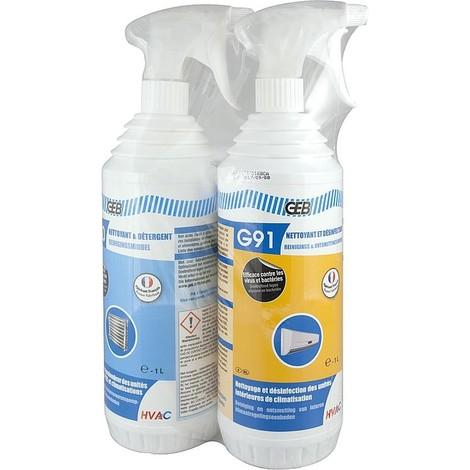 Packs clim GEB nettoyant G90+ désinfectant G91 1 L chacun