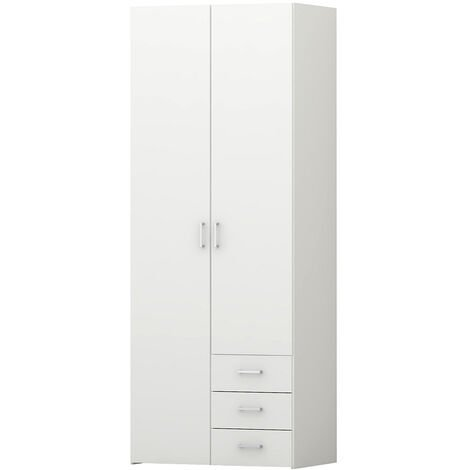 Pacon Wardrobe - White Doors - White Frame