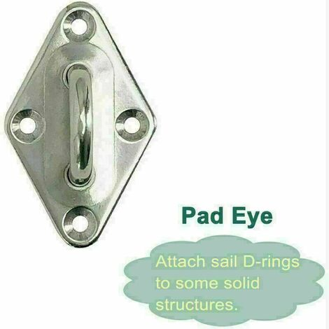 Pad Eye Plate Outdoor Sun Shade Sail Rigging Mounting Fixing Stainless Steel