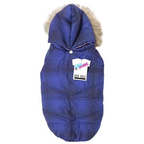 PADDED DOG COAT WITH FUR HOOD BLUE 35-40 CM