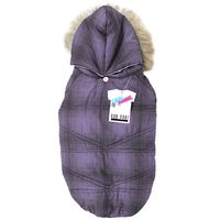 PADDED DOG COAT WITH FUR HOOD PURPLE 45-50 CM