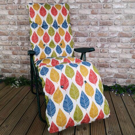 Padded Outdoor Garden Patio Recliner / Sun Lounger - Palma Leaf