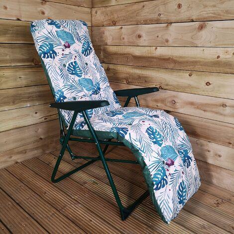 Padded Outdoor Garden Patio Recliner / Sun Lounger - Tropical Leaf