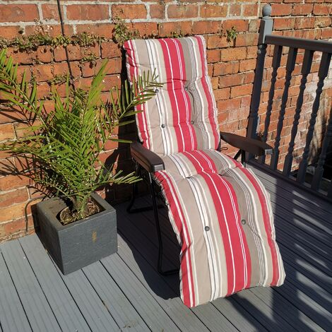 Padded Outdoor Garden Patio Recliner / Sun Lounger with Red Stripes