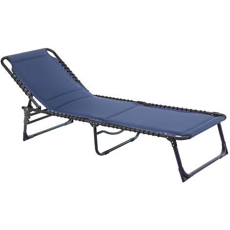 Padded Sun Lounger - Navy