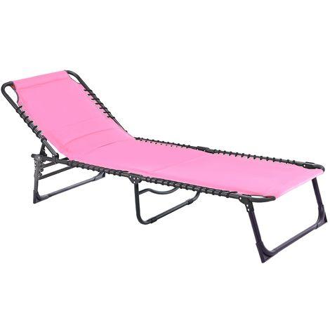 Padded Sun Lounger - Pink