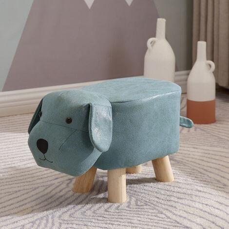 Padded Wooden Footstool Ottoman Pouffe Stool Animals Dog