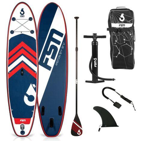 Paddle gonflable AMBITION 10'4 - 317x76x15 cm - Stand up paddle avec pagaie, leash, pompe, anneaux de kayak et sac de transport - Bleu