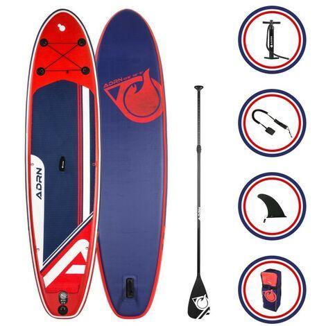 Paddle Gonflable EXPLORER 10'8 32'' 6'' (325x81x15cm) avec Pompe, Pagaie, Leash et Sac de transport - Rouge