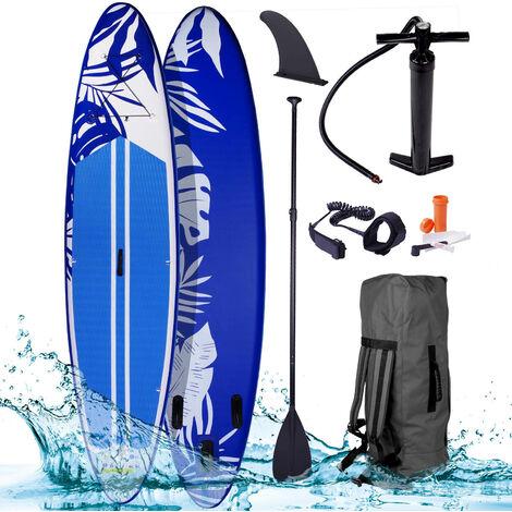 """Paddle gonflable """"Fusion"""" bleu 10'6 20psi 140kg double layer MFL 15cm Drop stitch tissé kit complet – planche gonflable SUP 320x76x15cm de BRAST"""