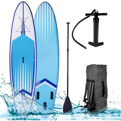 """Paddle gonflable """"PRO"""" bleu 10'6 20psi 120kg 15cm drop stitch kit complet – planche gonflable SUP 320x76x15cm de BRAST"""