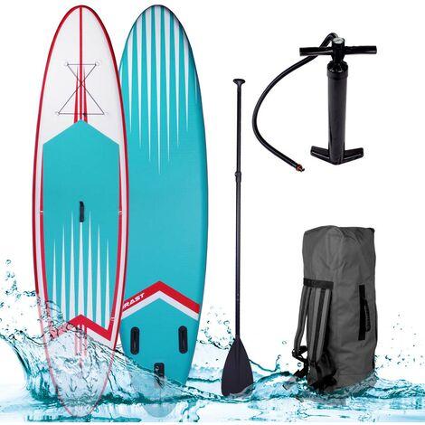 """Paddle gonflable """"PRO"""" turquoise 10'6 20psi 120kg 15cm drop stitch kit complet – planche gonflable SUP 320x76x15cm de BRAST"""