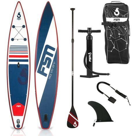 Paddle gonflable RACE 12'6 - 384 x 71 x 15 cm - Stand up paddle avec pagaie, leash, pompe, anneaux de kayak et sac de transport - Bleu