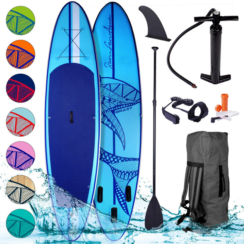 Brast - Paddle gonflable Shark 10'6 20psi 130kg Drop stitch tissé kit complet – planche gonflable SUP bleue 320x76x15cm de