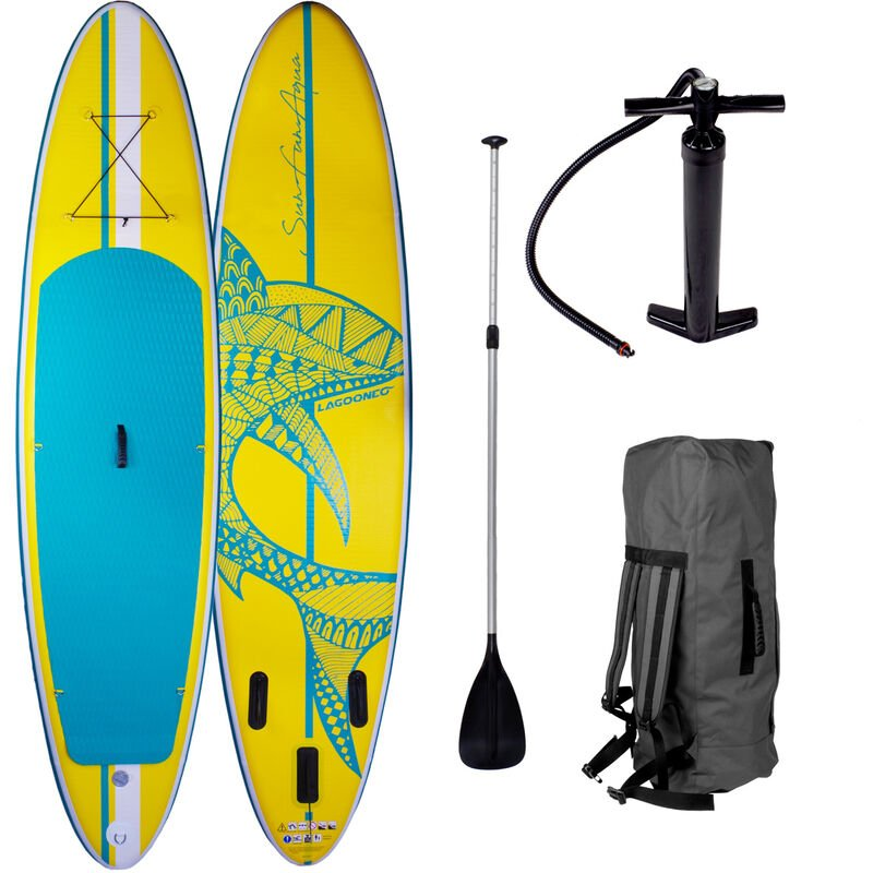 Brast - Paddle gonflable Shark 10'6 20psi 130kg Drop stitch tissé kit complet – planche gonflable SUP jaune 320x76x15cm de