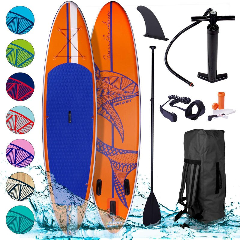 Brast - Paddle gonflable Shark orange 10'6 20psi Woven Drop Stitch 130kg 15cm kit complet – planche gonflable SUP 320x76x15cm de