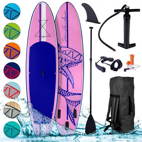 Paddle gonflable Shark rose 9'10 20psi Woven Drop Stitch 15cm 115kg kit complet – planche gonflable SUP 300x76x15cm de BRAST