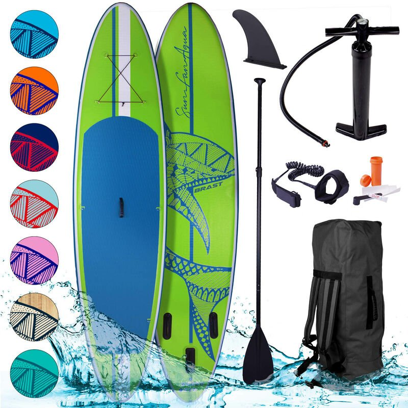 Brast - Stand Up Paddle gonflable Shark 10'6 20psi 130kg Drop stitch tissé kit complet – planche gonflable SUP verte 320x76x15cm de