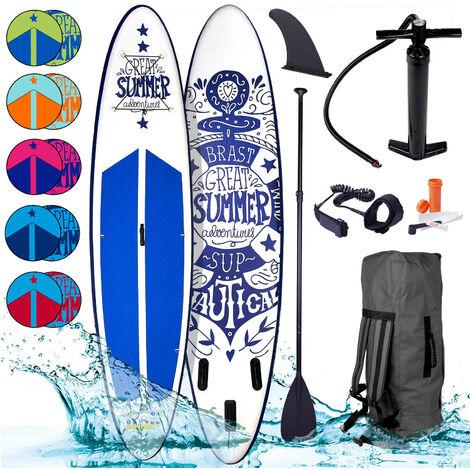 Paddle gonflable SUMMER en blanc 10`6 20psi 120kg 15cm drop stitch kit complet – planche gonflable SUP 320x76x15cm de BRAST
