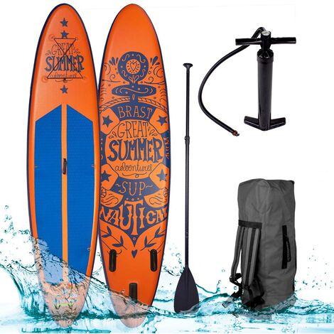 Paddle gonflable SUMMER en orange 10`6 20psi 120kg 15cm drop stitch kit complet – planche gonflable SUP 320x76x15cm de BRAST