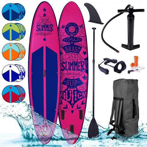 Paddle gonflable SUMMER en rose 10`6 20psi 120kg 15cm drop stitch kit complet – planche gonflable SUP 320x76x15cm de BRAST