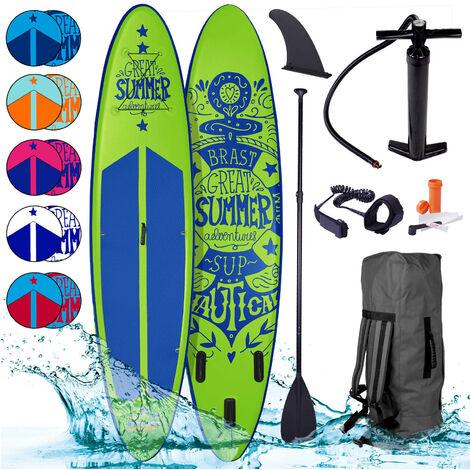 Paddle gonflable SUMMER en vert 10`6 20psi 120kg 15cm drop stitch kit complet – planche gonflable SUP 320x76x15cm de BRAST