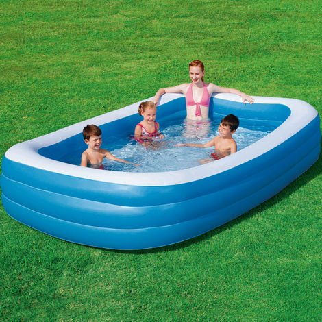 Paddling Pool Bestway 305 x 183 x 56 cm Blue Rectangular Family Pool Blue White