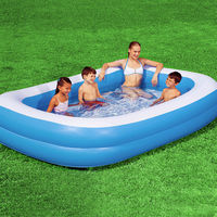 Paddling Pool Blue Rectangular Family Pool 211 x 132 x 46 cm