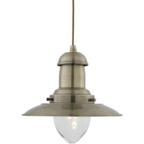 Padstow Modern Aged Brass Fishermans Ceiling Pendant Light