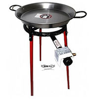 Paella Cooking Set with 42cm Polished Steel Paella Pan, Gas Burner, Legs and Spoon
