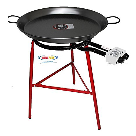 Paella Cooking Set with 70cm Polished Steel Paella Pan, Gas Burner, Legs and Spoon