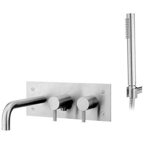 Paffoni Mezclador empotrado para baño de acero con ducha manual STEEL002AC | Acero